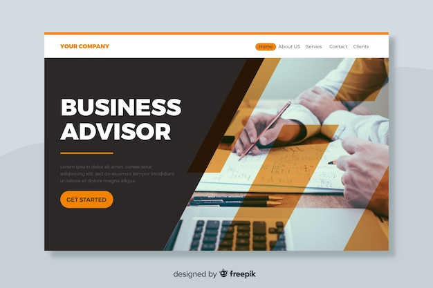 Business adviser landing page with image