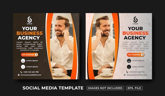 Шаблон оформления публикации в социальных сетях бизнес-агентства premium векторы
