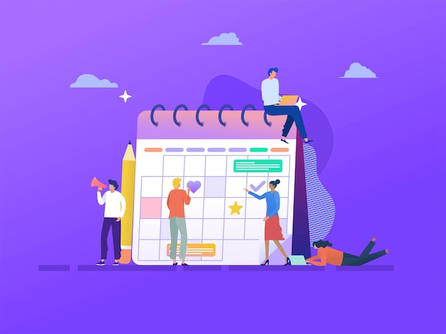 ビジネスアジェンダ予定図コンセプト、幸せな男と女のカレンダーでビジネススケジュールを作る