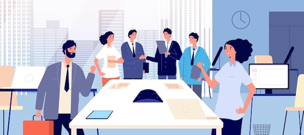 Business agreement. business people shaking hands. respect partnership and relationship. corporate office vector illustration. business handshake and agreement, businessman professional teamwork