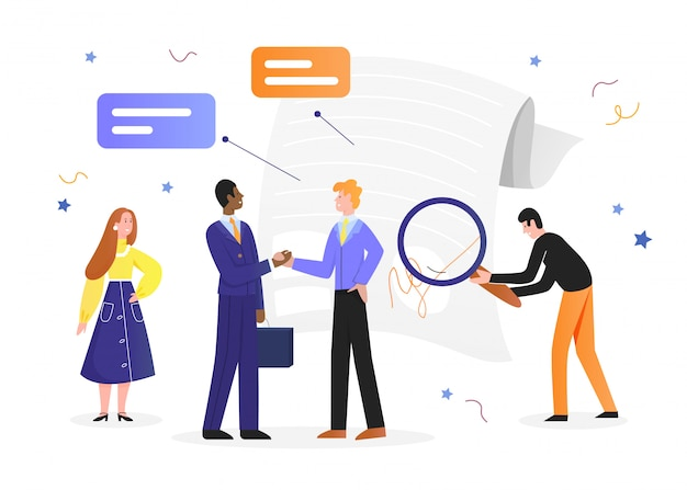 Иллюстрация делового соглашения, мультфильм счастливый бизнесмен на встрече с партнером, пожимая руку согласованному контрактному документу на белом