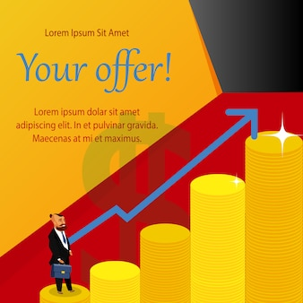 Business ambitions poster concept with copyspace.