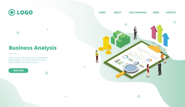 Business analysis for campaign web website home homepage landing page template with modern flat cartoon style.