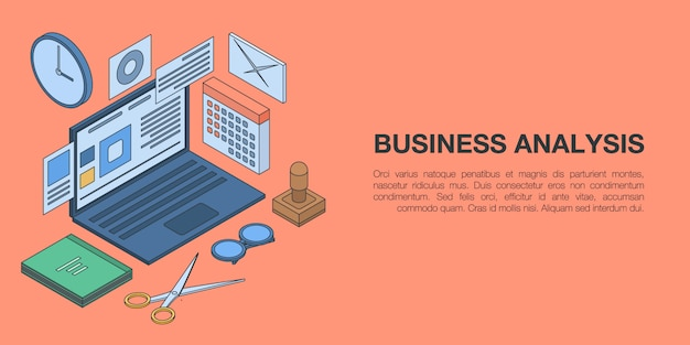 Business analysis concept banner, isometric style