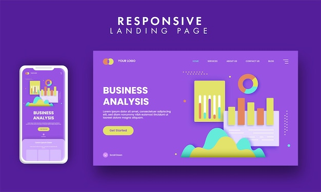 Business analysis concept based landing page design in purple color.