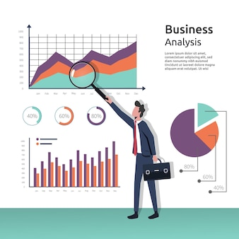 Business analysis concept, businessman with magnifying glass in hand examination graphs, research, project management, planning, accounting, analysis, data