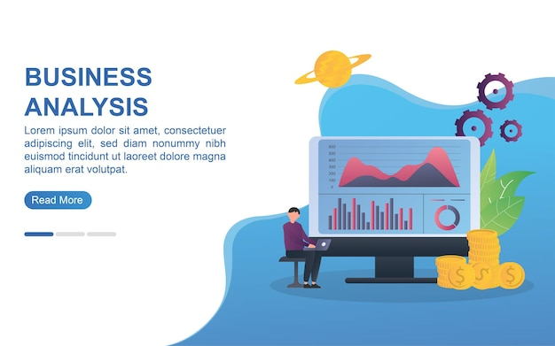Business analysis concept for landing page or web banner.