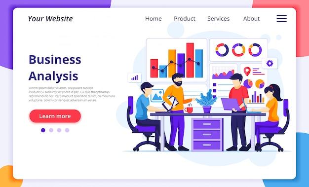 비즈니스 분석 개념, 사람들이 책상에 앉아 차트 및 그래픽 데이터 시각화 작업. 웹 사이트 방문 페이지 템플릿