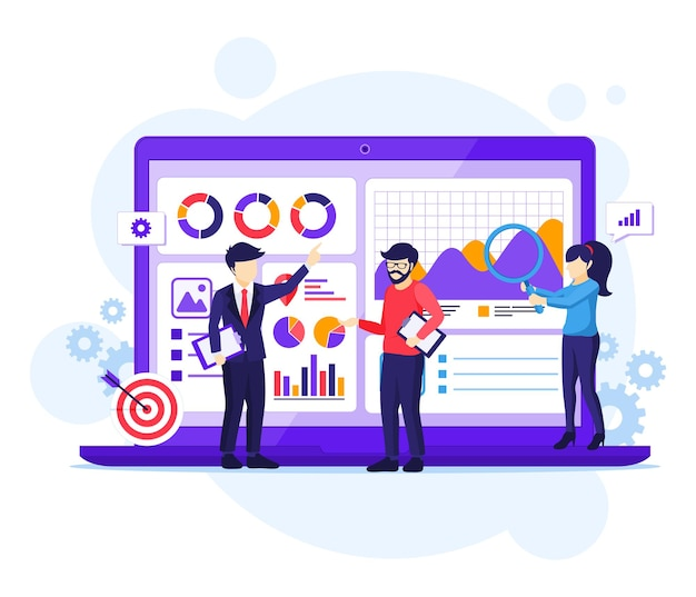 Концепция бизнес-анализа, люди работают перед большим ноутбуком, аудит, финансовый консалтинг плоский векторные иллюстрации