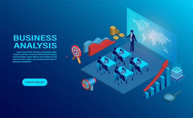 Business analysis concept with character.