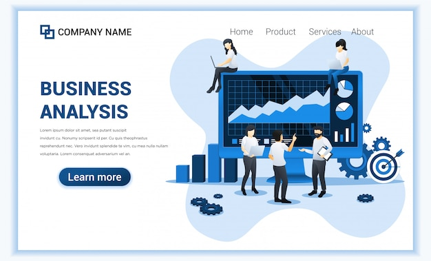 Business analysis concept with characters. auditing, financial consulting. can use for web banner, landing page, web template. flat illustration