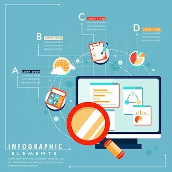 フラットスタイルのタブレットとチャートグラフを使用したビジネス分析の概念
