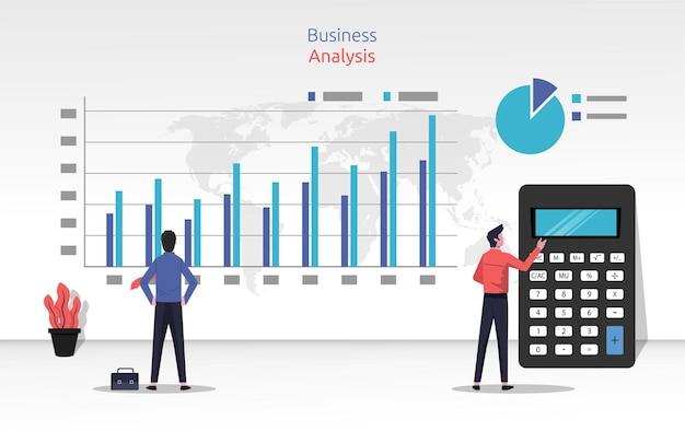Концепция бизнес-анализа с двумя бизнесменами, рассматривающими и анализирующими исходные данные