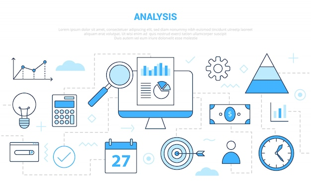 Business analysis concept with various icon line like graph and chart research with modern line style