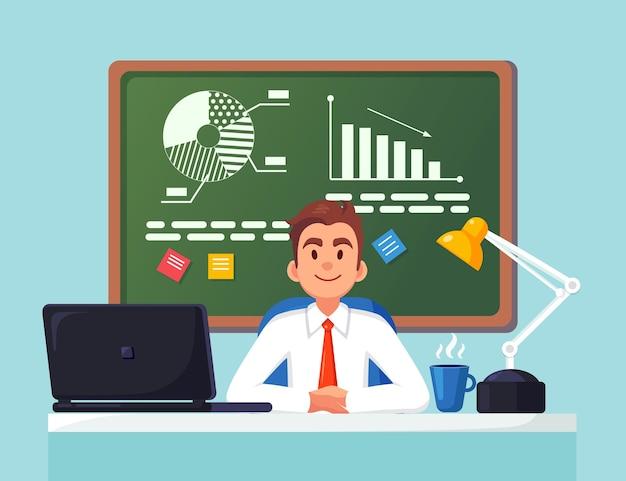 ビジネス分析、データ分析。机で働く男。グラフ、チャート、黒板の図