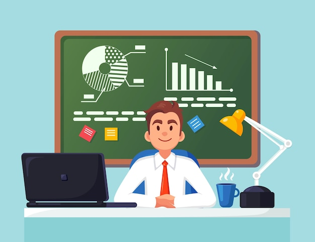 Business analysis, data analytics. man working at desk. graph, charts, diagram on chalkboard