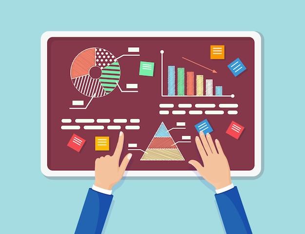 ビジネス分析、データ分析、研究統計。グラフ、チャート、黒板の図。人々は分析し、開発、マーケティングを計画します