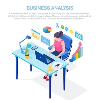 Бизнес-анализ, аналитика данных, статистика исследований, планирование. изометрическая 3d женщина, работающая за столом в офисе. график, диаграммы, диаграмма. люди анализируют, планируют развитие, маркетинг.