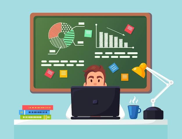 ビジネス分析、データ分析、調査統計、計画。オフィスのデスクで働く男