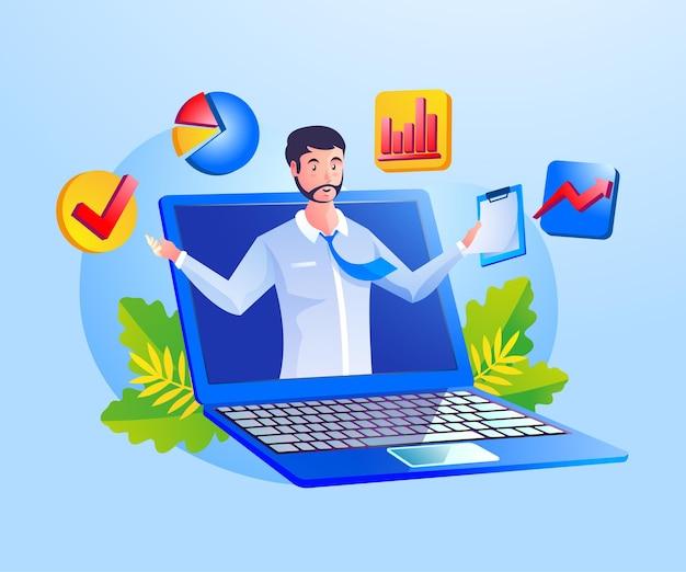 노트북 기호로 비즈니스 분석 데이터