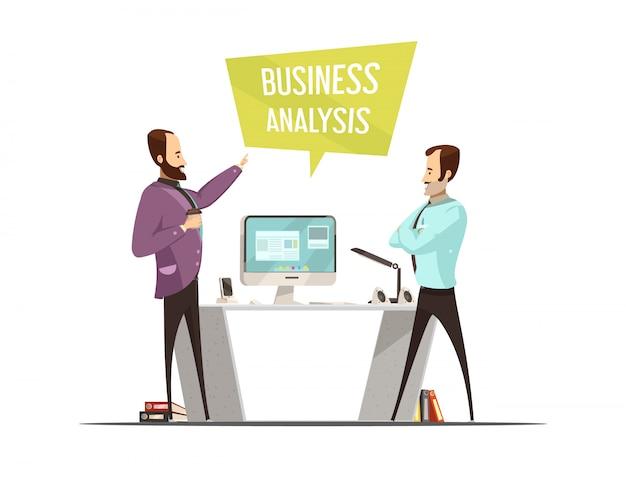 Дизайн бизнес-анализа с речевым пузырем и стоящими мужчинами возле стола в компьютерном мультяшном стиле