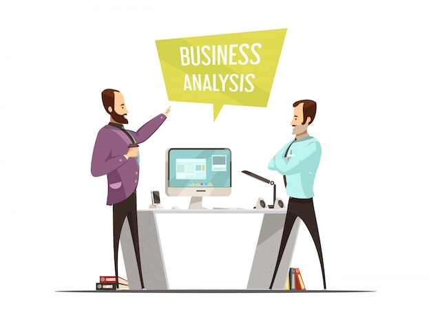 Business analysis design with speech bubble and standing men near table with computer cartoon style