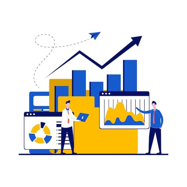 性格を持つビジネス分析の専門家の概念。ビジネスマンは、オンラインデータ分析について相談し、財務調査を行い、報告します。
