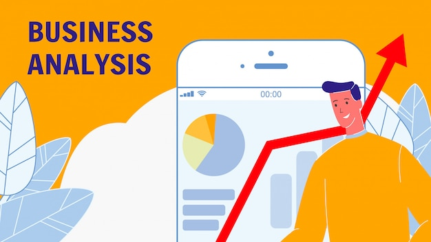 Business analysis flat vector banner with text