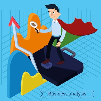 Business analysis isometric concept with super businessman and charts