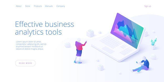 Изометрический шаблон целевой страницы бизнес-анализа