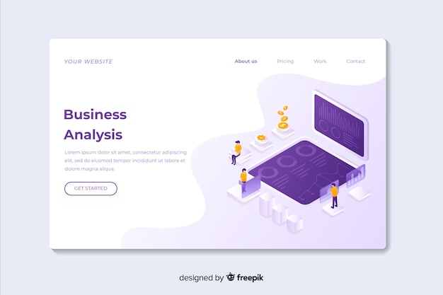 Business analysis isometric landing page