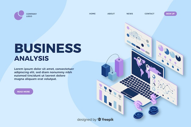Business analysis landing page in isometric design