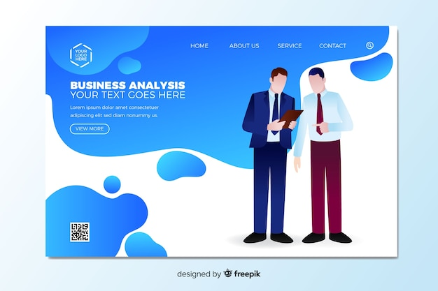 Business analysis landing page template