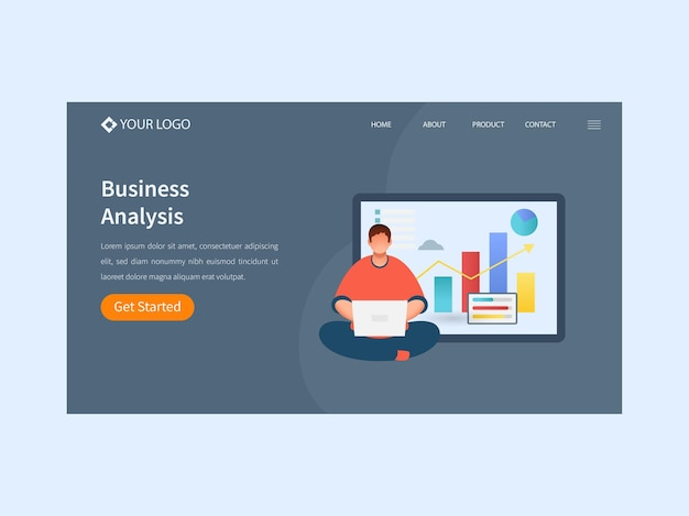 Business analysis landing page or web template design