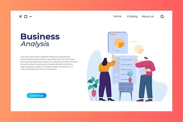 Бизнес-анализ целевой страницы с плоской иллюстрацией