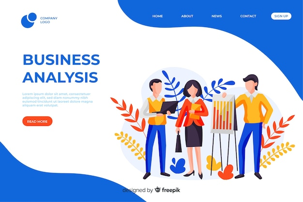 Business analysis page template with photo