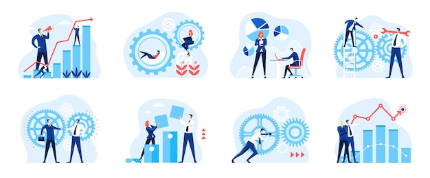 Business analysis people with gears diagram chart mechanism workflow company organization set