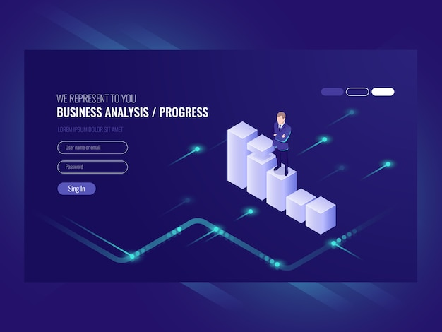 Business analysis and progress concpet, businessman, schedule of data
