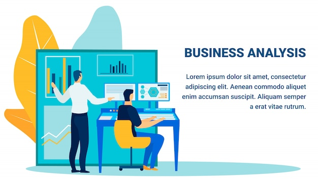 Business analysis report flat banner template