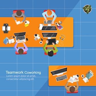 Business analysis teamwork, flat design, teamwork creative office workspace