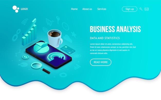 ビジネス分析ツール等尺性着陸の概念。流体の抽象的な背景のスマートフォンの画面上の3 dグラフデータ。モバイルアプリ、ウェブサイトテンプレート、seo、マーケティングインフォグラフィックのイラスト