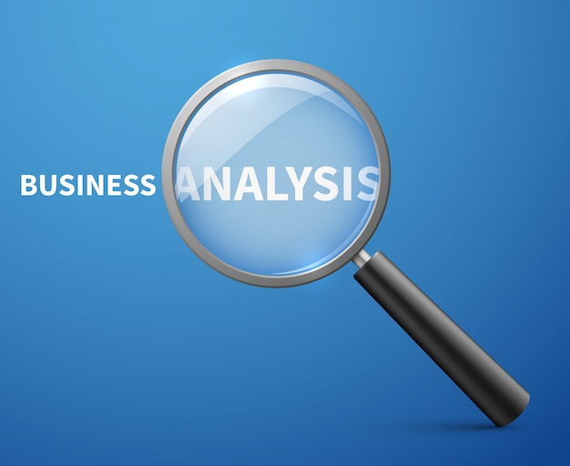 Business analysis with magnifying glass