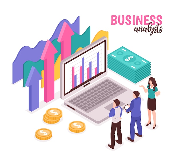 Business analyst composition with data diagrams and statistics isometric