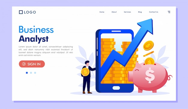 Business analyst landing page website illustration vector