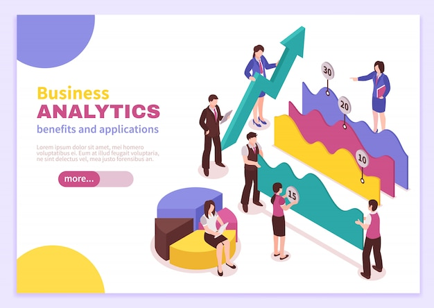 Business analyst landing page with benefits and applications symbols isometric isolated