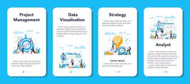 Набор баннеров мобильного приложения бизнес-аналитик. бизнес-стратегия и управление проектами. оптимизация и прогресс. люди, работающие с графиком и диаграммой.