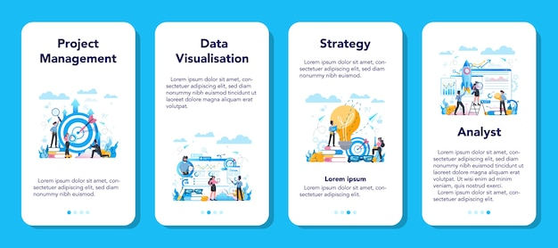 Business analyst mobile application banner set. business strategy and project management. optimization and progress. people working with graph and diagram.