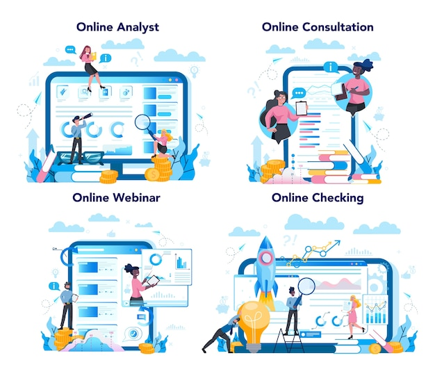 Business analyst online service or platform on differernt device concept set. business strategy and project management online consultation and webinar.