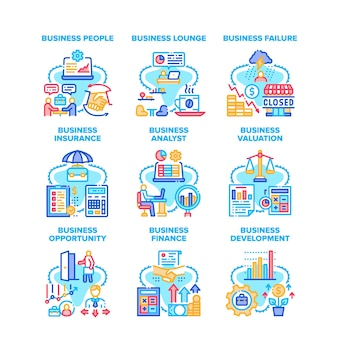 Business analyst set icons vector illustrations. business analyst people and lounge zone, failure and insurance, valuation and finance, opportunity and development color illustrations