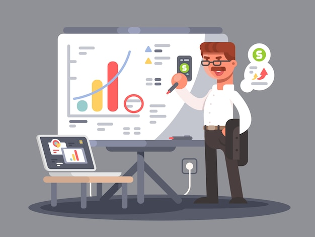 Business analyst shows presentation